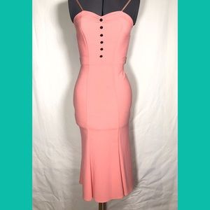 Stop Staring Strapless Coral Wiggle Dress